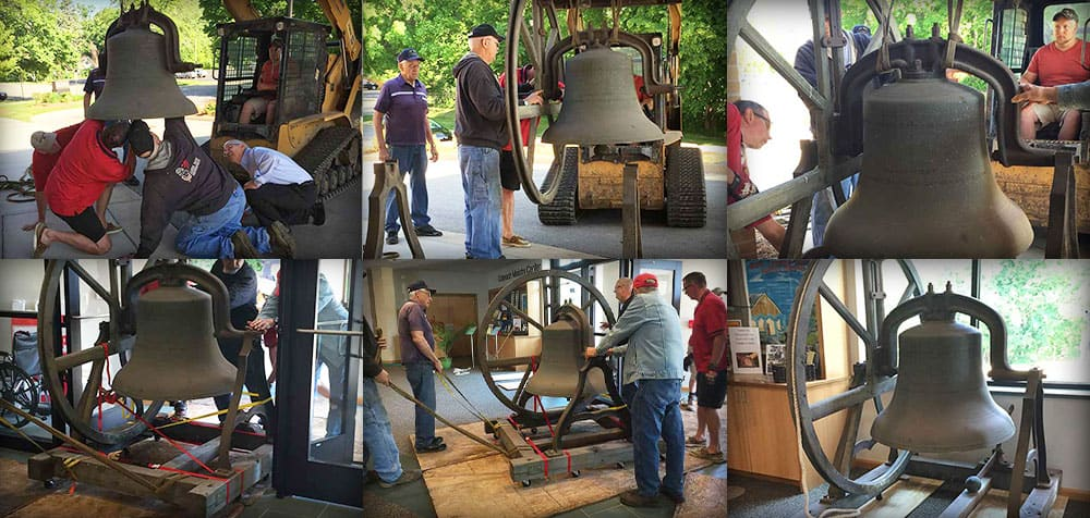 Brinkmann Construction team helping Our Saviors Church move a bell from the original 1920 building