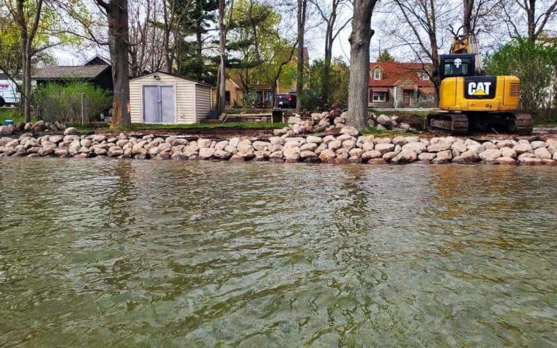 Boulders on lake shore