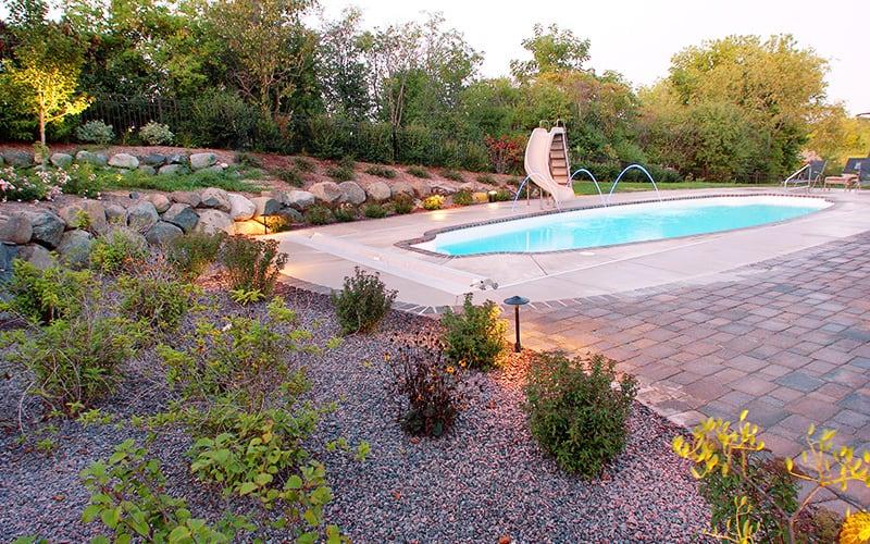 decorative stone garden bed
