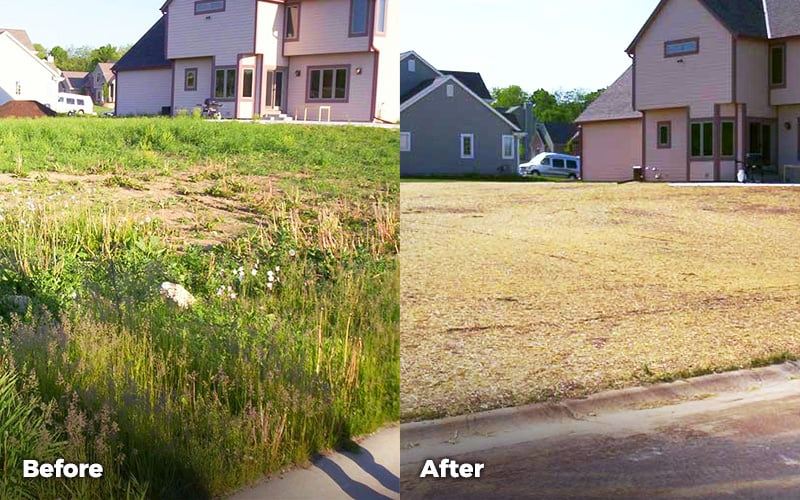 lawn grading before and after