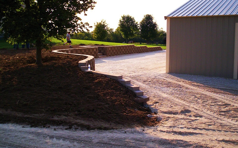 rough grading and retaining wall