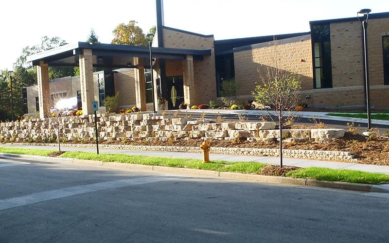 retaining wall outside church