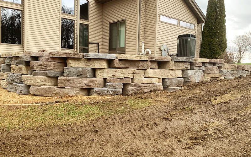 retaining wall near home