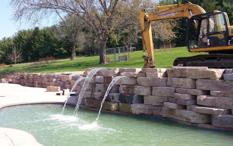 Pool and retaining wall by Brinkmann Construction