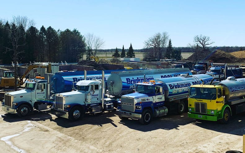 Brinkmann water delivery trucks lined up and ready to go.